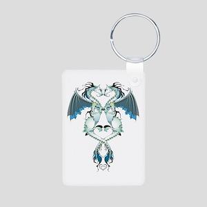 Azure Love Dragons Aluminum Photo Keychain