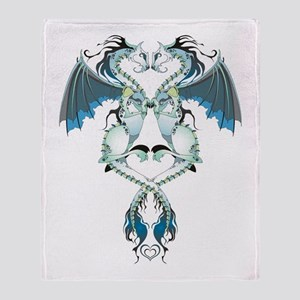 Azure Love Dragons Throw Blanket