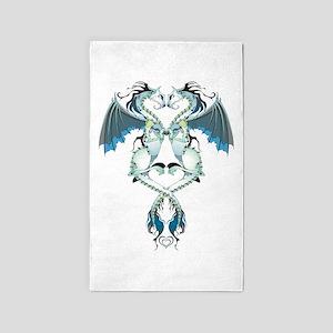 Azure Love Dragons 3'x5' Area Rug
