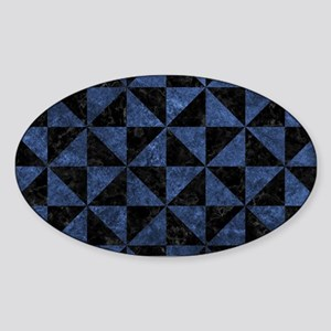 TRIANGLE1 BLACK MARBLE & BLUE STONE Sticker (Oval)