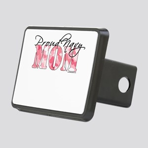 Proud Navy Mom (Pink Butte Rectangular Hitch Cover