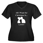 Christmas Lo Women's Plus Size V-Neck Dark T-Shirt
