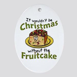 Funny Christmas Cartoon Fruitcake Ornament (Oval)