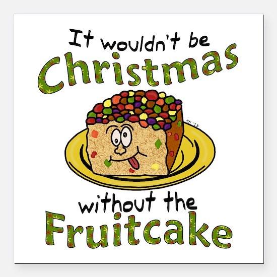 Funny Christmas Cartoon Fruitcake Square Car Magne