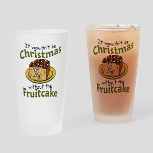 Funny Christmas Cartoon Fruitcake Drinking Glass