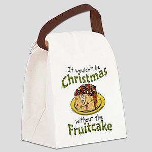 Funny Christmas Cartoon Fruitcake Canvas Lunch Bag
