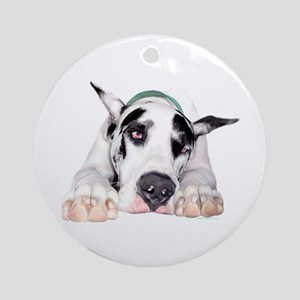 Great Dane Shy Harlequin Ornament (Round)