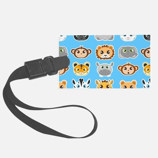 Cute Jungle Animals Pattern Blue Luggage Tag