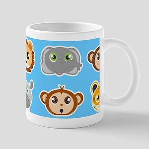 Cute Jungle Animals Pattern Blue Mug