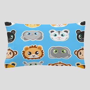 Cute Jungle Animals Pattern Blue Pillow Case