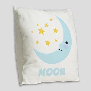 Night Moon Burlap Throw Pillow