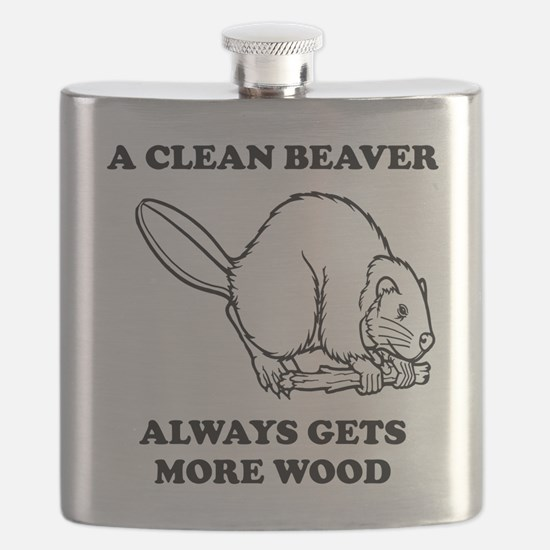 A Clean Beaver Always Gets More Wood Flask