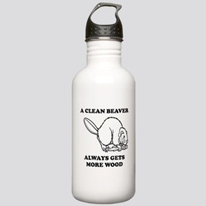A Clean Beaver Always Gets More Wood Water Bottle