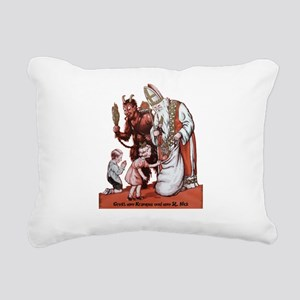 St. Nick & The Krampus Rectangular Canvas Pillow