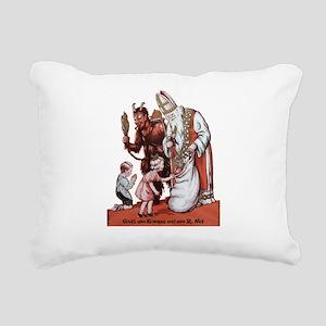 St. Nick & The Krampus Rectangular Canvas Pillow