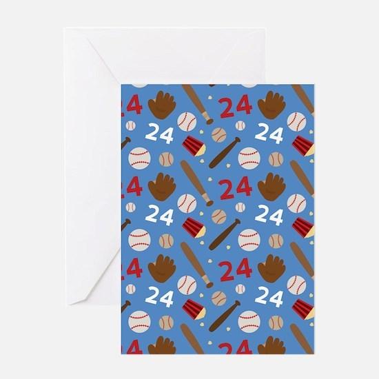 Baseball Number 24 Greeting Card