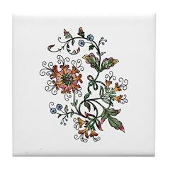 Beautiful Floral Art Design Tile Coaster