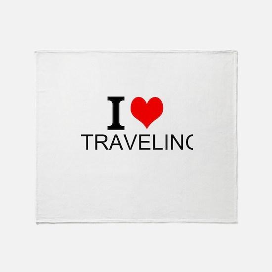 I Love Traveling Throw Blanket