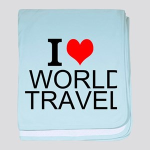 I Love World Travel baby blanket