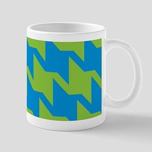 Blue-Green Houndstooth Mugs