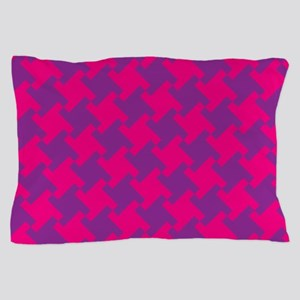 Pink-Purple Houndstooth Pillow Case