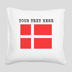 Custom Denmark Flag Square Canvas Pillow