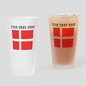 Custom Denmark Flag Drinking Glass