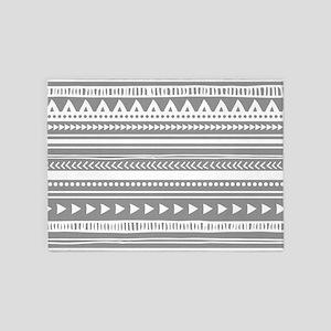Grey White Tribal Vintage Stripes 5'x7'Area Rug