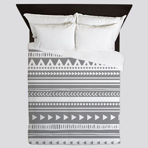 Grey White Tribal Vintage Stripes Queen Duvet