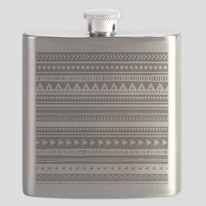 Grey White Tribal Vintage Stripes Flask