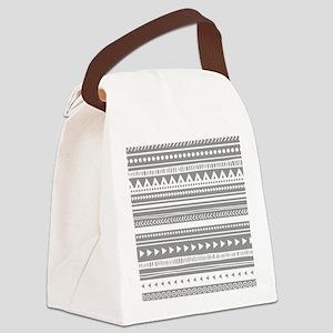 Grey White Tribal Vintage Stripes Canvas Lunch Bag