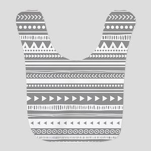 Grey White Tribal Vintage Stripes Bib