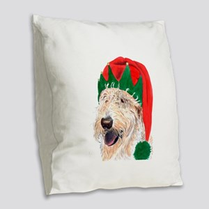 Santa's Helper Labradoodle Burlap Throw Pillow