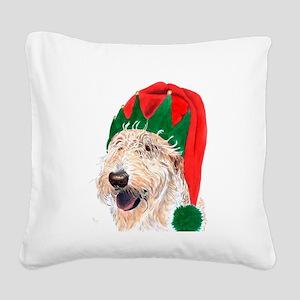Santa's Helper Labradoodle Square Canvas Pillow
