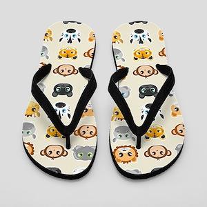 Cute Jungle Animals Pattern Flip Flops