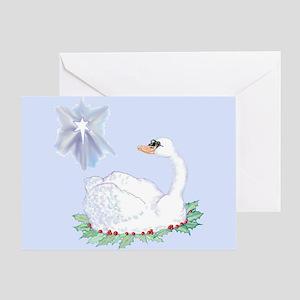 christmas swan Greeting Cards