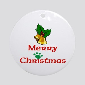 Merry Christmas With Paw & Bells Ornament (rou