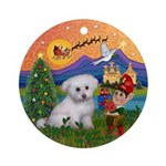 Xmasfantasy-Bichon Puppy Ornament (round)
