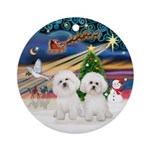 Xmagic-Two Bichon Ornament (round)