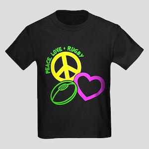 PEACE-LOVE-RUGBY Kids Dark T-Shirt