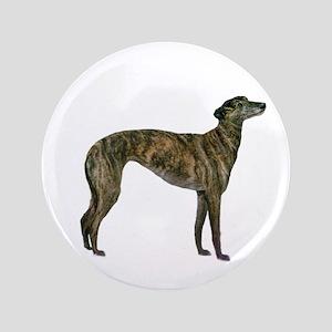 """Greyhound (brindle) 3.5"""" Button"""