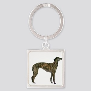 Greyhound (brindle) Square Keychain