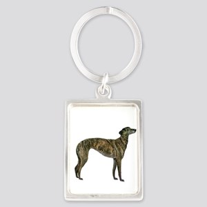 Greyhound (brindle) Portrait Keychain