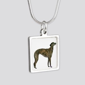 Greyhound (brindle) Silver Square Necklaces