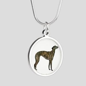 Greyhound (brindle) Silver Round Necklaces