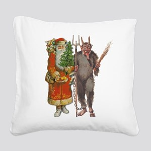 Krampus And Santa Claus Are Here Square Canvas Pil
