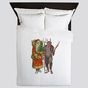 Krampus And Santa Claus Are Here Queen Duvet