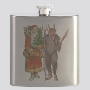 Krampus And Santa Claus Are Here Flask