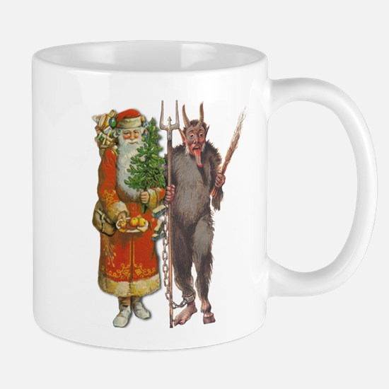 Krampus And Santa Claus Are Here Mugs