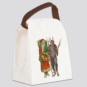 Krampus And Santa Claus Are Here Canvas Lunch Bag